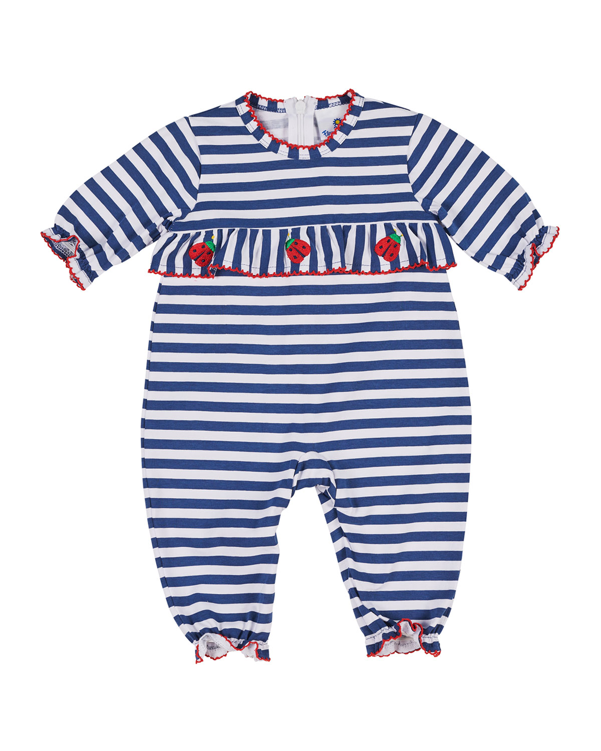 Striped Ruffle-Trim Ladybug Coverall, Size 3-18 Months