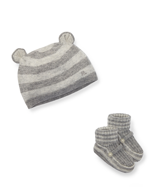 Bear Baby Hat w/ Rib-Knit Booties, Size Newborn-9M