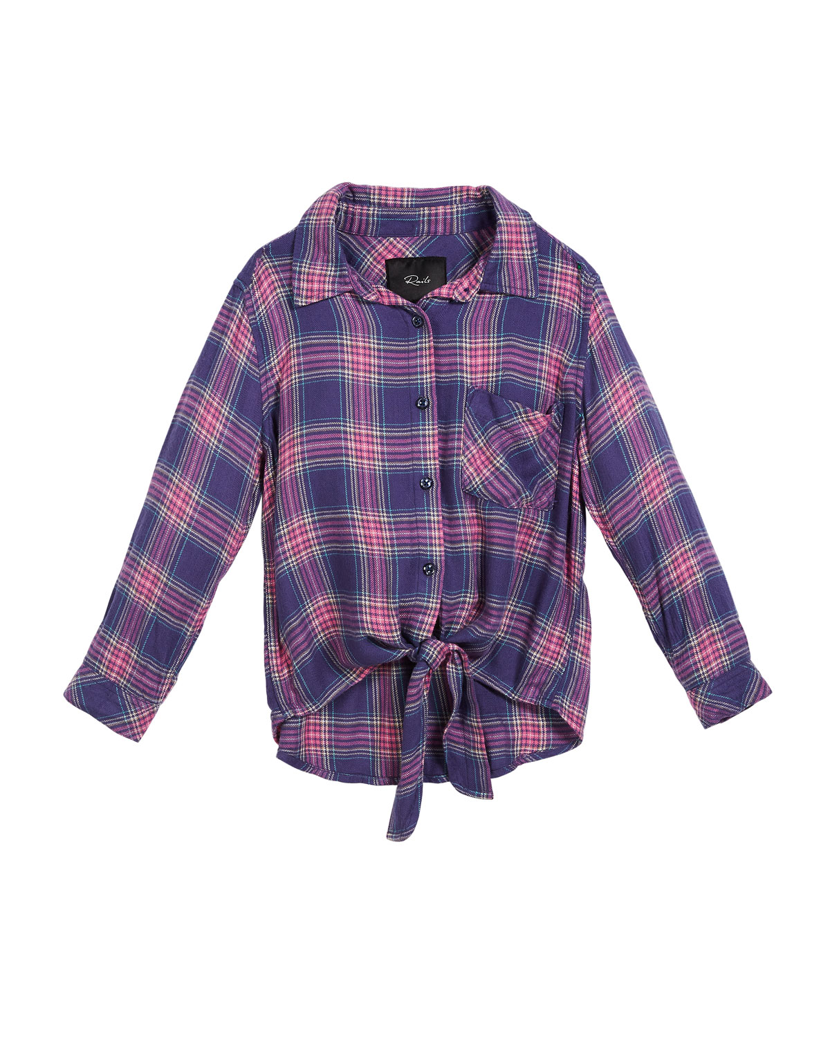 Valerie Plaid Tie-Front Top, Size 6-14