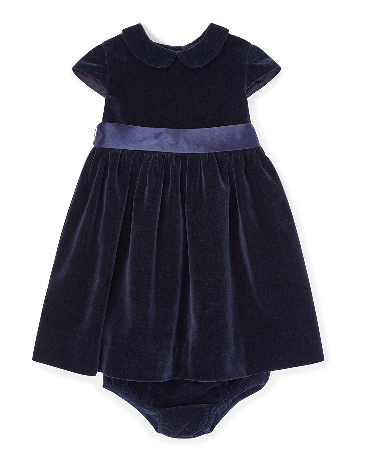 Velvet Short-Sleeve Dress w/ Matching Bloomers, Size 6-24 Months