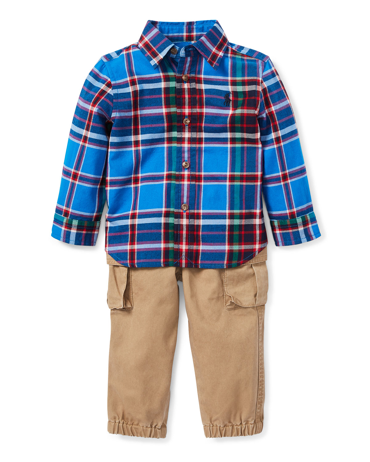 Collar Plaid Shirt w/ Twill Pants, Size 6-24 Months