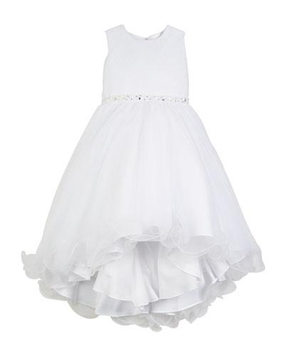 Diagonal Sheer Top Dress w/ Rhinestone Embellishment, Size 4-14