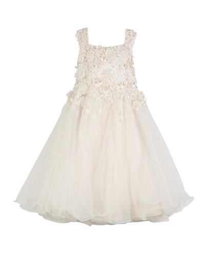 3D Floral Cutout Lace & Tulle Dress, Size 4-14