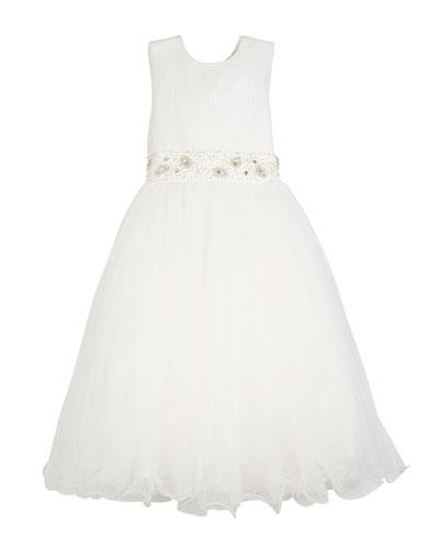 Glitter Sheer Dress w/ Embellished Waist, Size 4-14