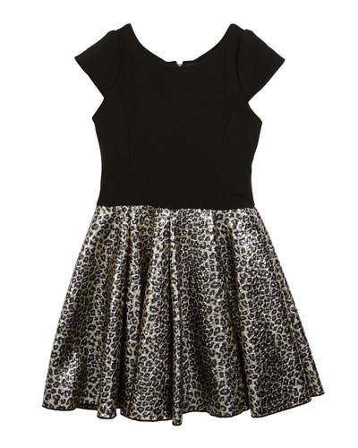 Cap-Sleeve Dress w/ Foil Leopard-Print Skirt, Size 7-16