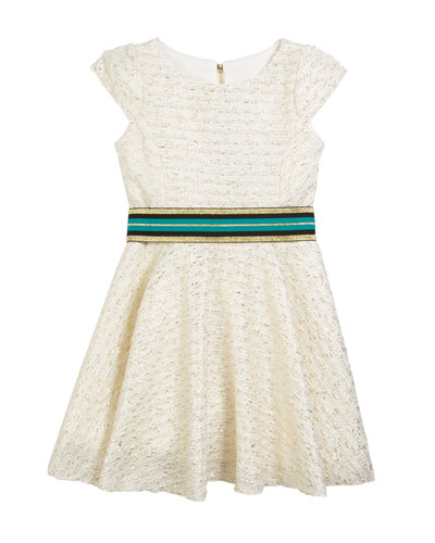 Metallic Boucle Knit Dress w/ Belt, Size 7-16
