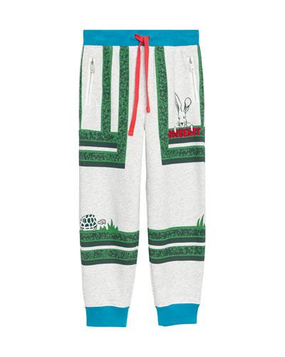 Maze-Print Cotton Jogger Pants, Size 3-8