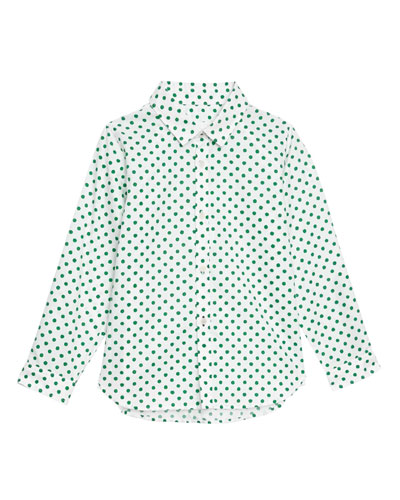Jayce Polka-Dot Collared Shirt, Size 3-14