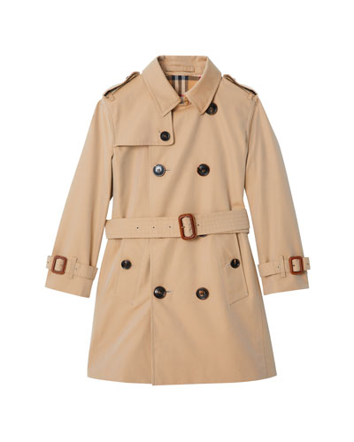 Mayfair Collared Trench Coat, Size 3-14