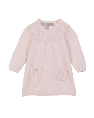 Rib Knit Jersey Long-Sleeve Dress, Size 3-18 Months
