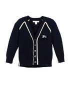 Burberry Sedrick Two-Tone Button-Front Cardigan, Size 3-14