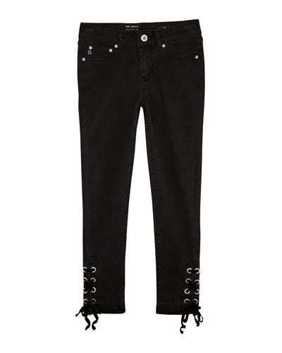 Girls' Luella Skinny Crop Jeans w/ Self-Tie Grommet Ankles, Size 7-14