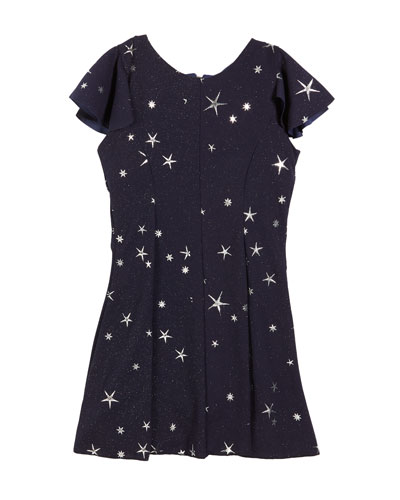 Star-Print Fit-and-Flare Short-Sleeve Dress, Size 7-16