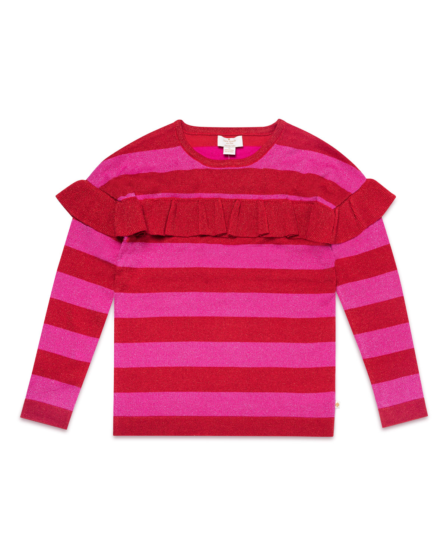ruffletrim metallic stripe knit sweater size 714
