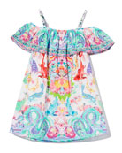 Camilla Ruffle-Trim Dragon & Koi Fish Print Dress,