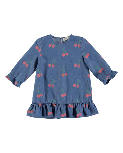 Chambray Long-Sleeve Cherry-Print Dress, Size 6-36 Months