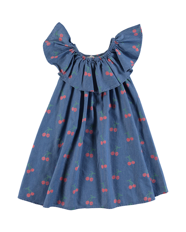 Chambray CherryPrint RuffleCollar Dress Size 414