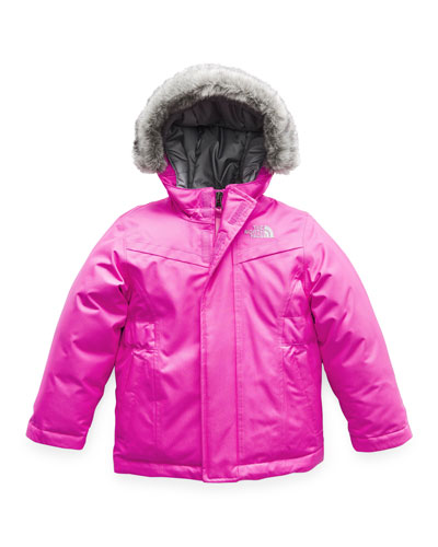 Greenland Down Hooded Jacket w/ Faux-Fur Trim, Size 2-4T