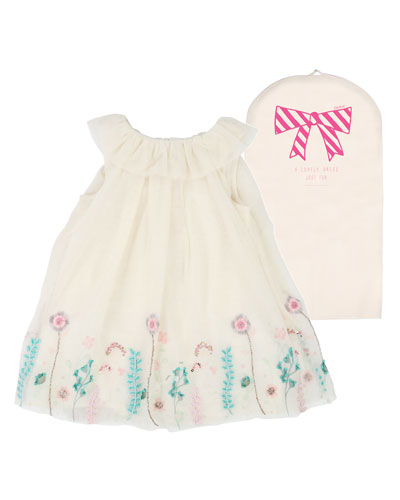 Floral Embroidered Tulle Dress, Size 12M-3