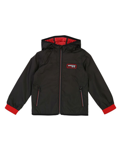 Hooded Lightweight Jacket w/ Logo Details, Size 4-10