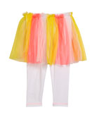 Billieblush Leggings w/ Attached Multicolored Tulle Skirt, Size