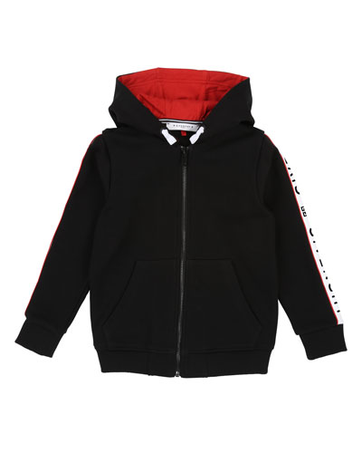 Zip-Up Hooded Jacket w/ Logo Taping, Size 4-10