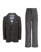 Andy & Evan Boys' Dapper Dude Two-Piece Pinstripe