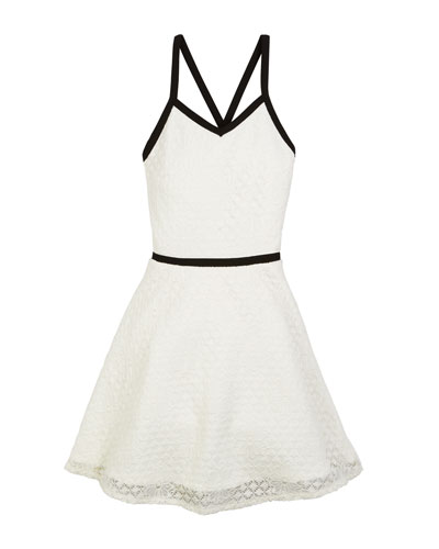 The Audrey Floral Lace Contrast-Trim Dress, Size S-XL