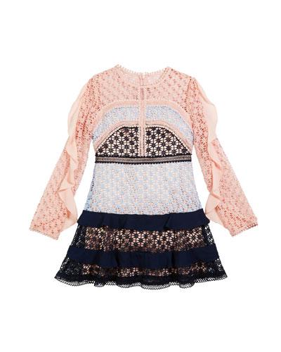 Arabella Ruffle-Trim Colorblock Lace Dress, Size 8-16