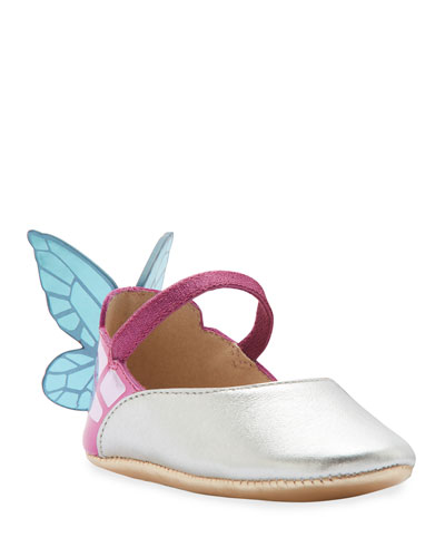 Chiara Metallic Leather Butterfly-Wing Flats, Baby
