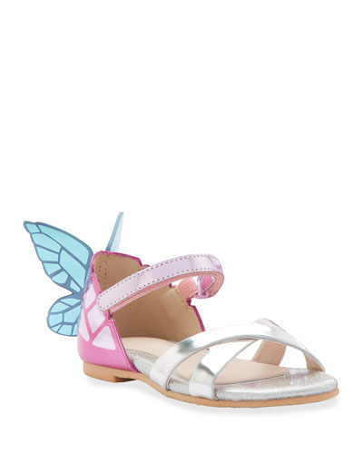 Chiara Mirrored Leather Butterfly Sandals, Toddler
