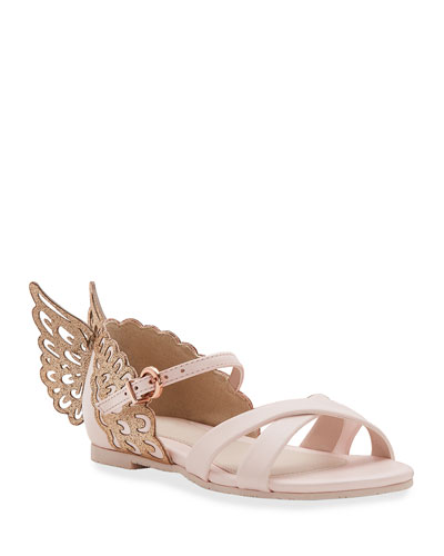 Evangeline Glittered Butterfly-Wing Leather Sandals, Toddler/Kids