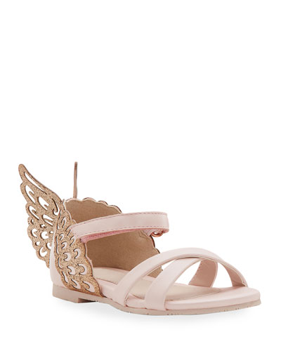 Evangeline Glittered Butterfly-Wing Leather Sandals, Toddler