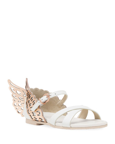 Evangeline Metallic Butterfly-Wing Leather Sandals, Toddler/Kids