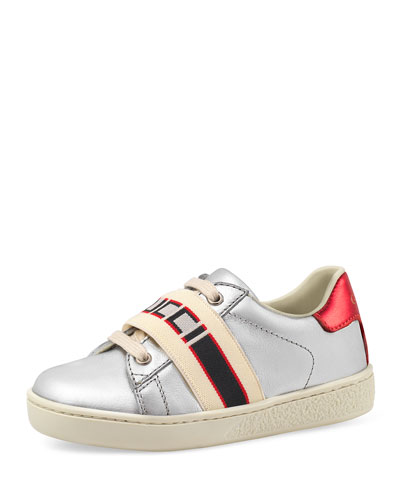 New Ace Gucci Band Metallic Leather Sneaker, Toddler