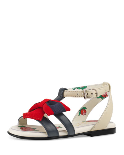 Jane Two-Tone Leather Web-Bow Sandal, Toddler