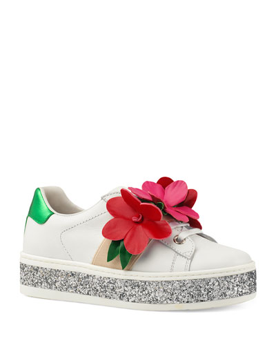 New Ace Glitter Platform Flower Sneakers, Toddler/Kids