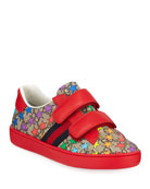 Gucci New Ace GG Supreme Rainbow Star-Print Sneakers,