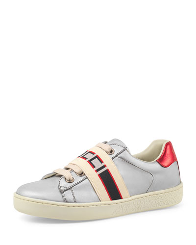 New Ace Gucci Band Metallic Leather Sneaker, Toddler/Kids