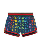 Gucci Rainbow Logo-Print Swim Trunks, Size 9-36 Months