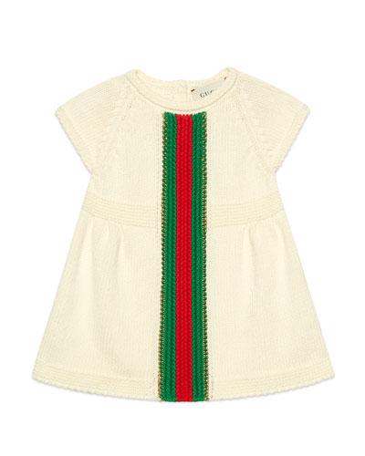 Short-Sleeve Knit Dress w/ Crochet Web Striped, Size 3-36 Months