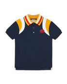 Gucci Colorblock Polo Shirt w/ Knit Collar, Size