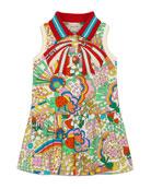 Gucci Mixed-Print Dress w/ Knit Collar, Size 4-12