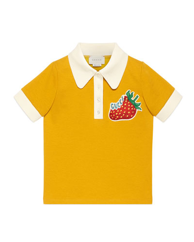 Logo Strawberry Patch Polo Shirt, Size 4-12