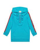Gucci Logo-Sleeves Hooded Sweatshirt Dress, Size 4-12
