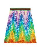 Gucci Floral Rainbow Chevron A-Line Skirt, Size 4-12