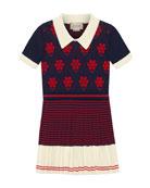 Gucci Flower Argyle Knit Dress, Size 4-12