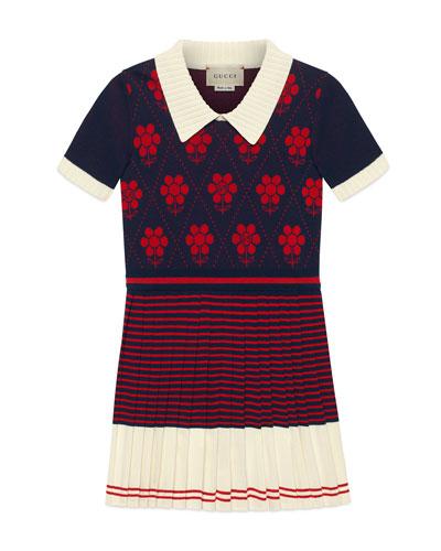 Flower Argyle Knit Dress, Size 4-12