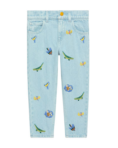 Animal Embroidered Denim Jeans, Size 4-12
