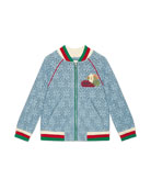 Gucci Lace Bomber Jacket w/ Knit Trim, Size